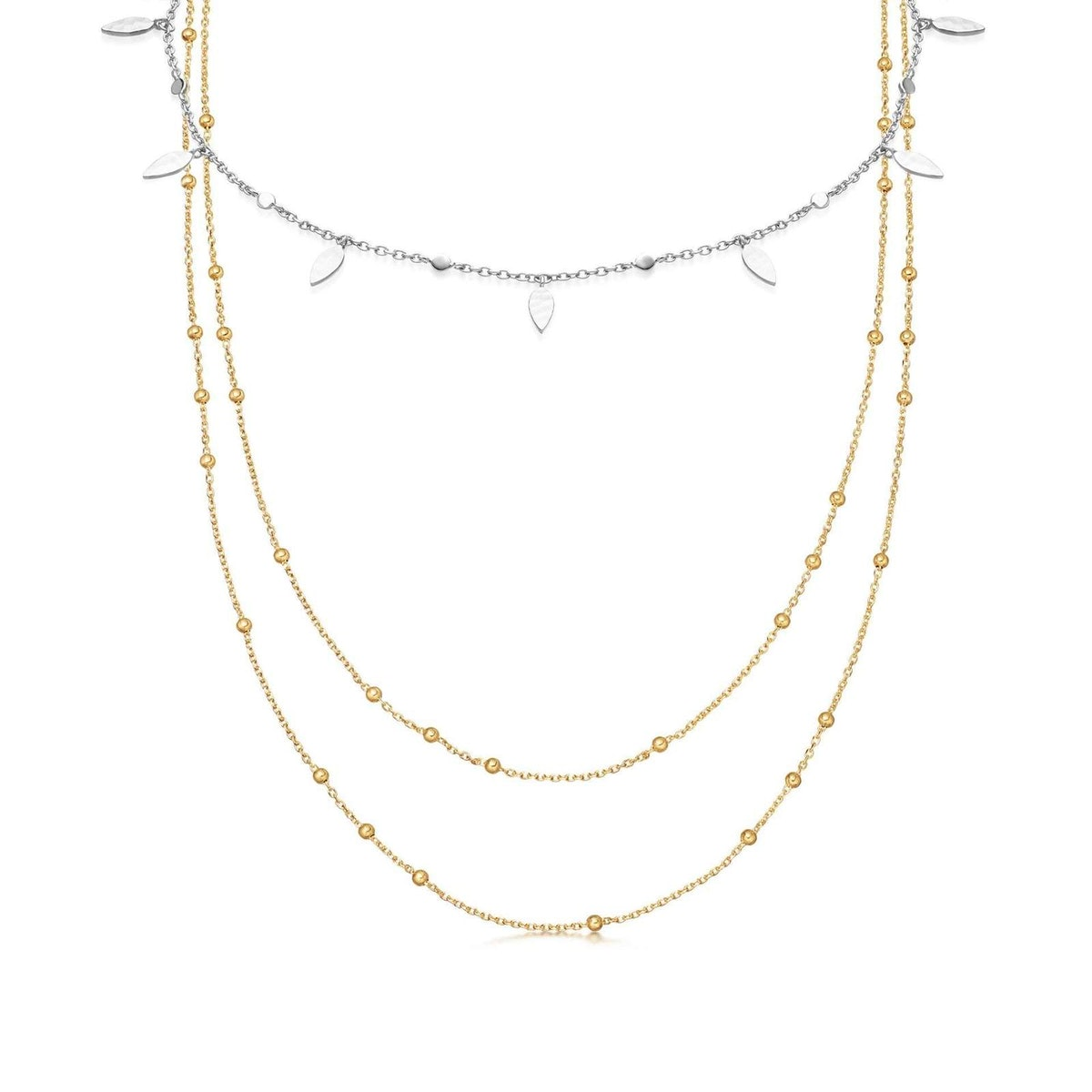 Gold vermail double chain choker mixed metal necklace set from celebrity-approved UK brand Missoma.