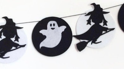 Ghost and witch felt garland