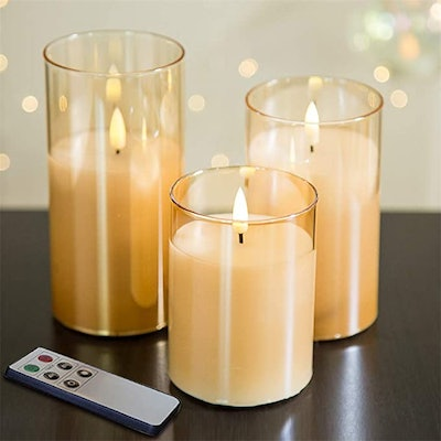 Eywamage Gold Glass Flameless Candles (3-Pack)