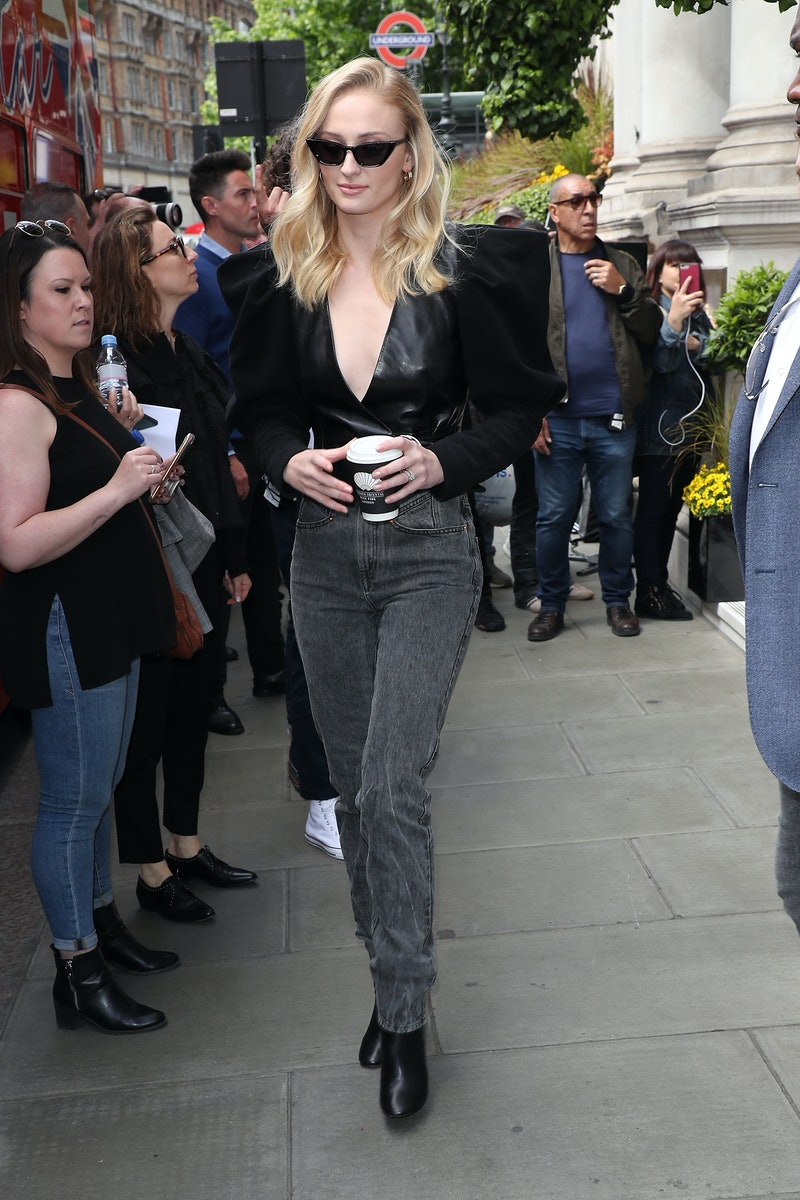 Sophie Turner seen leaving her hotel to film The Late Late Show on an open top tour bus on May 24, 2019 in London, England.