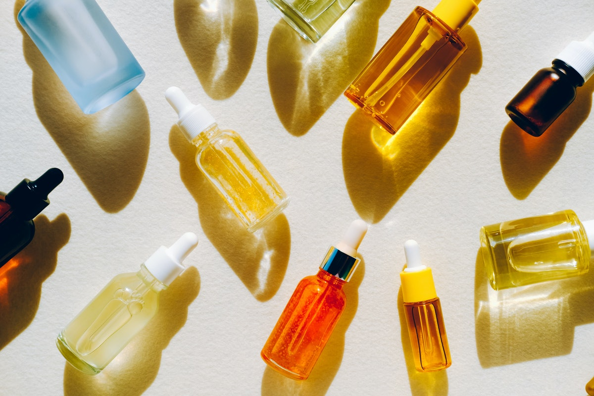 glass bottle flat lay