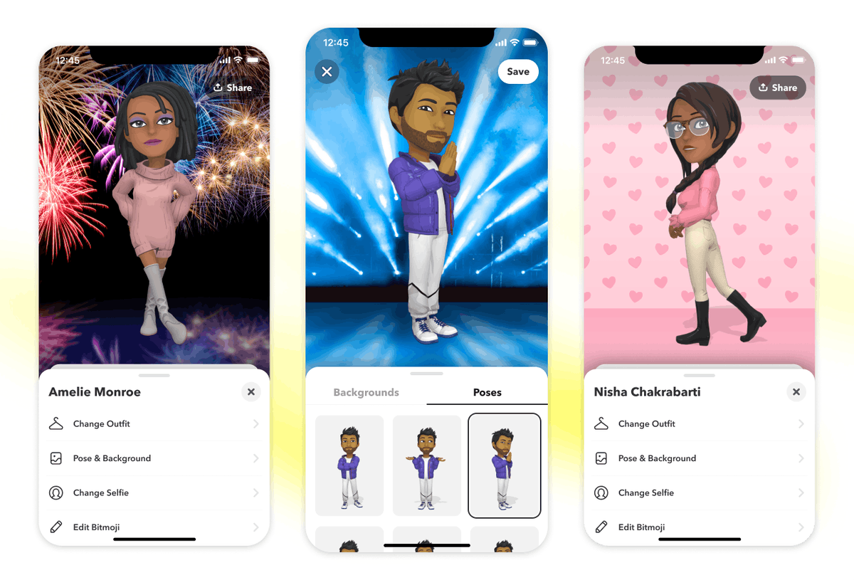 Snapchat is rolling out a 3D Bitmoji feature.