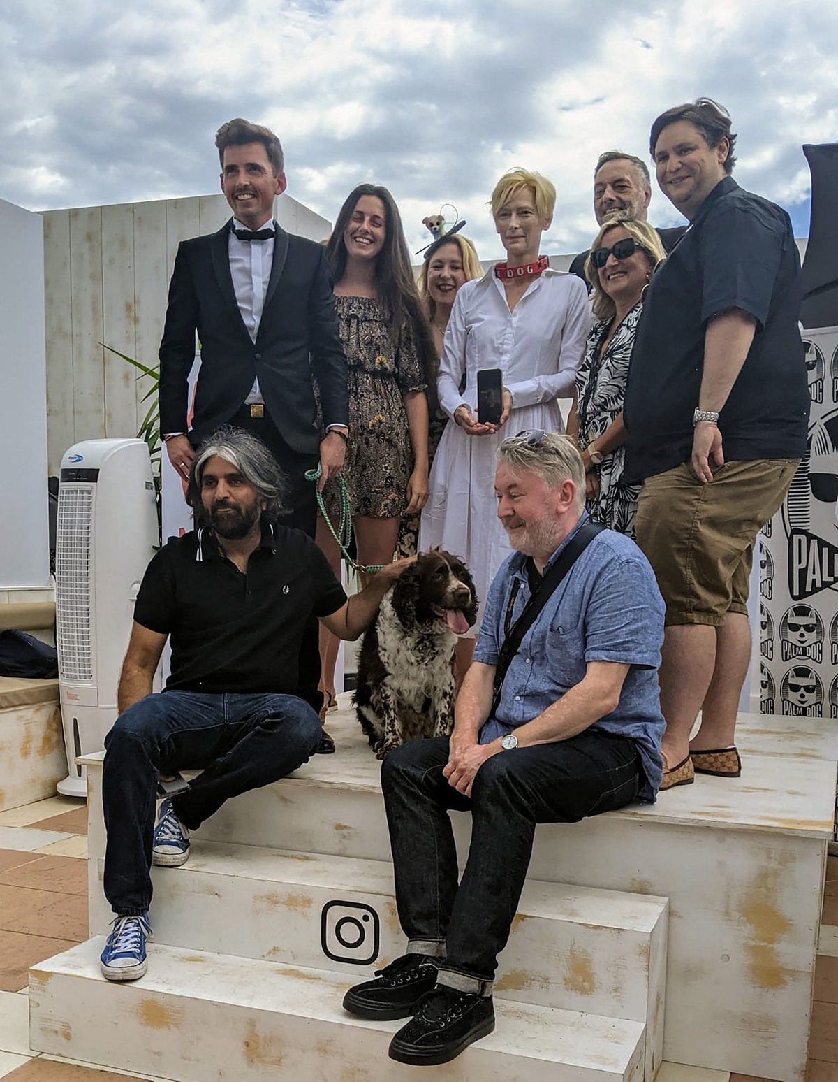 Tilda Swinton accepting the Palm Dog award on behalf of her dogs