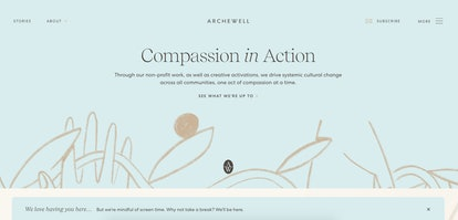 The Archewell website now has a pop up telling visitors to take a break if they've spent too much ti...