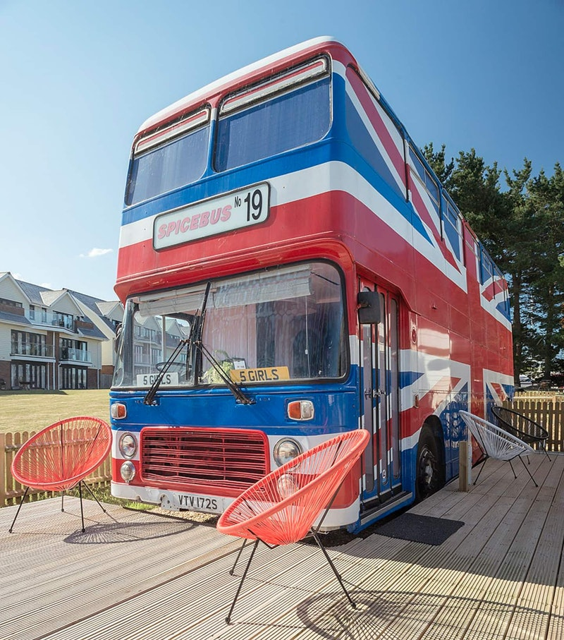 The Spice Bus, a union jack patterned bust  featuring a sign that reads 'Spice Girls'