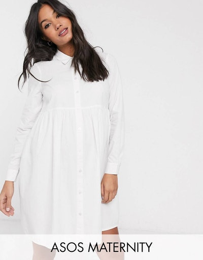 a white maternity oxford shirt dress with buttons and collar