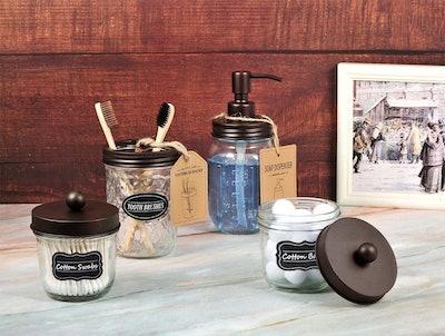 Amolliar Mason Jar Bathroom Accessories Set (4 Pack)