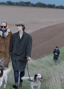 Tilda Swinton and Honor Swinton Byrne with their dogs in The Souvenir