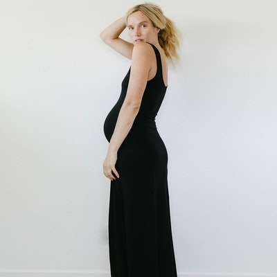 soft maternity maxi dress with scoop tank front and back