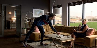 Hannah Waddingham and Jason Sudeikis discussing John Wingsnight in 'Ted Lasso' Season 2