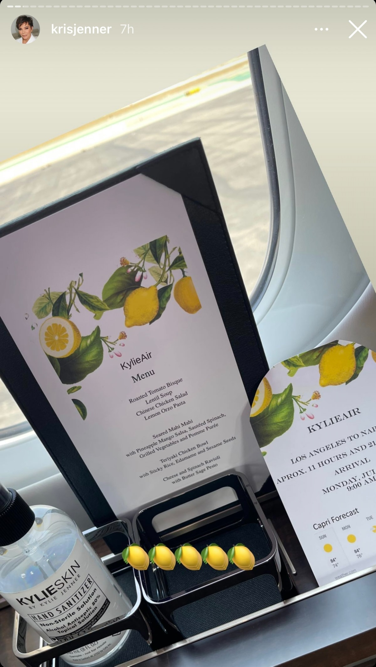 Kylie Jenner's private jet menu is impressive.