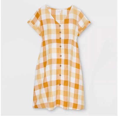 yellow and white gingham maternity dress with buttons up front