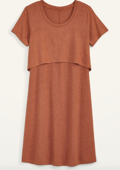 rust colored t-shirt maternity dress with overlay for nursing