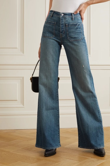 Florence Distressed High-Rise Flared Jeans