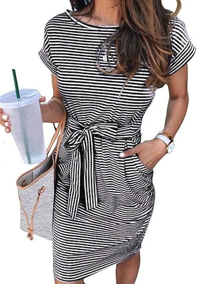 MEROKEETY Short Sleeve T Shirt Dress