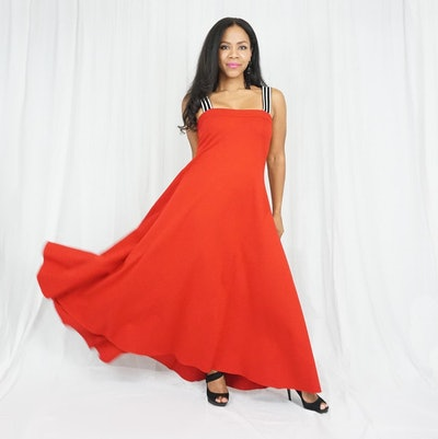 a bright red long maternity gown with striped thick straps