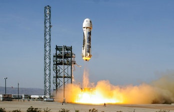 Jeff Bezos Blue Origin New Shepard rocket launch promo image