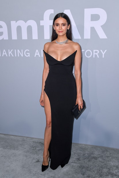 Nina Dobrev attends the amfAR Cannes Gala 2021 during the 74th Annual Cannes Film Festival at Villa ...