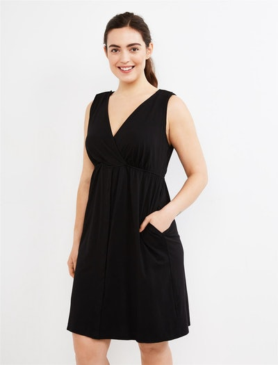 a black v-neck maternity dress with hidden snaps for labor and nursing