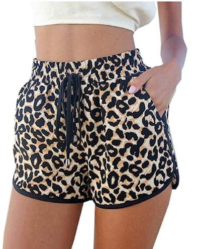 Kafeimali Leopard Print Beach Shorts