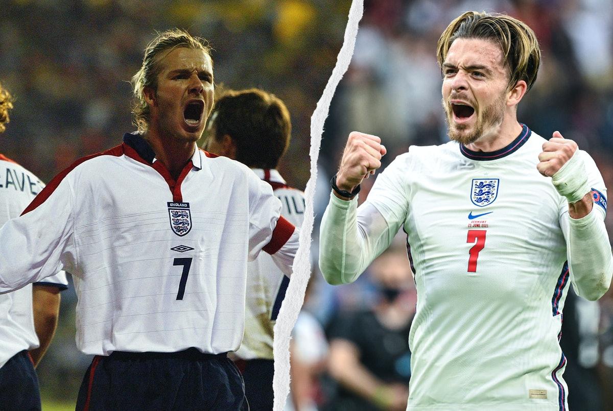 David Beckham and Jack Graelish celebrating on the pitch