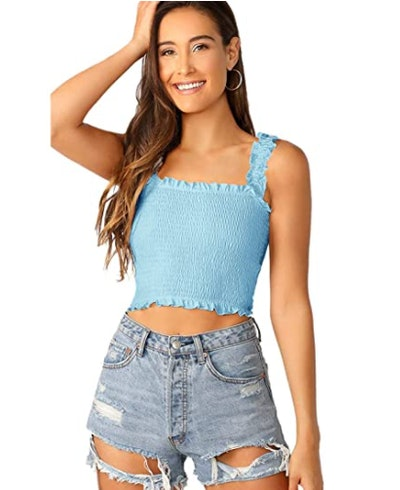 SheIn Frill Smocked Tank Top