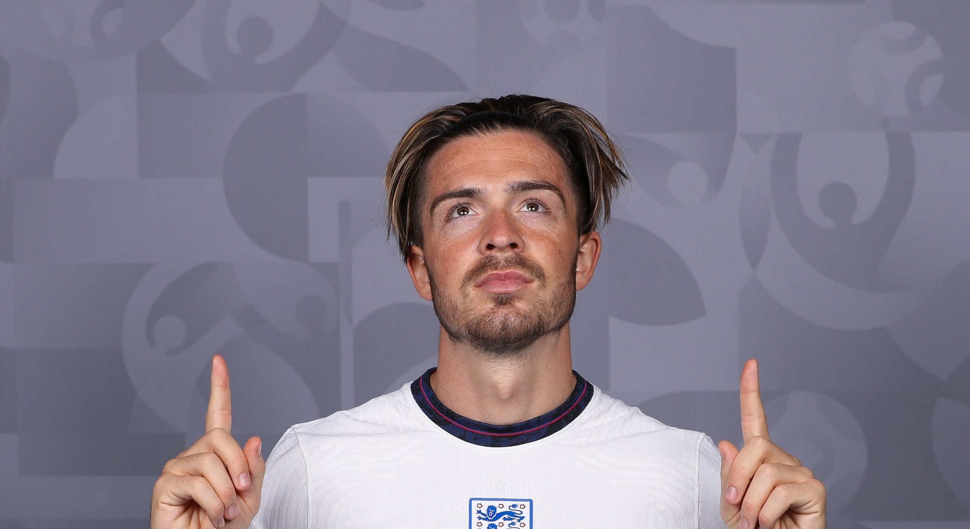 Jack Grealish of England poses during the official UEFA Euro 2020 press day