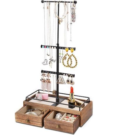 Keebofly Metal & Wood Jewelry Storage