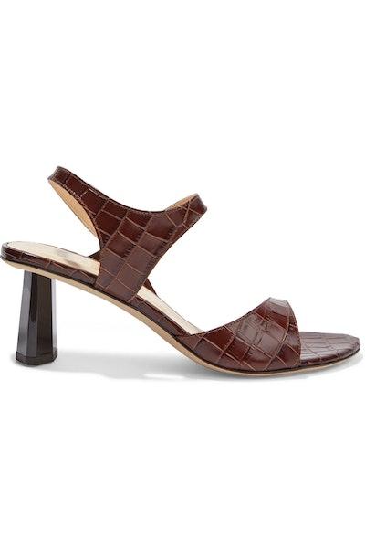 Arden Croc-Effect Leather Sandals