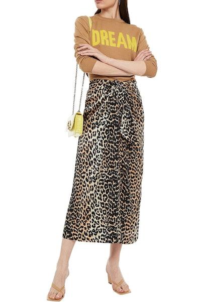 Ganni Bow-detailed leopard-print silk-blend satin midi skirt