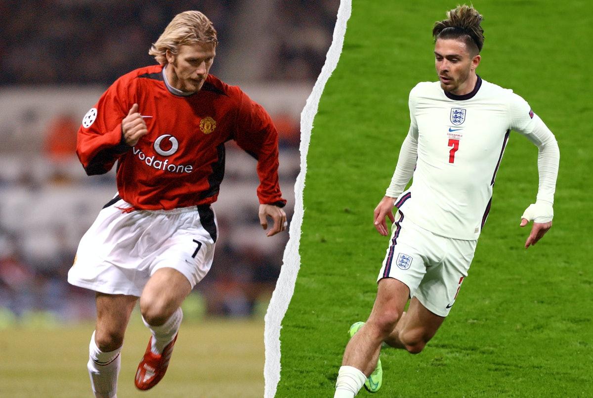 David Beckham and Jack Graelish on the pitch, chasing a ball