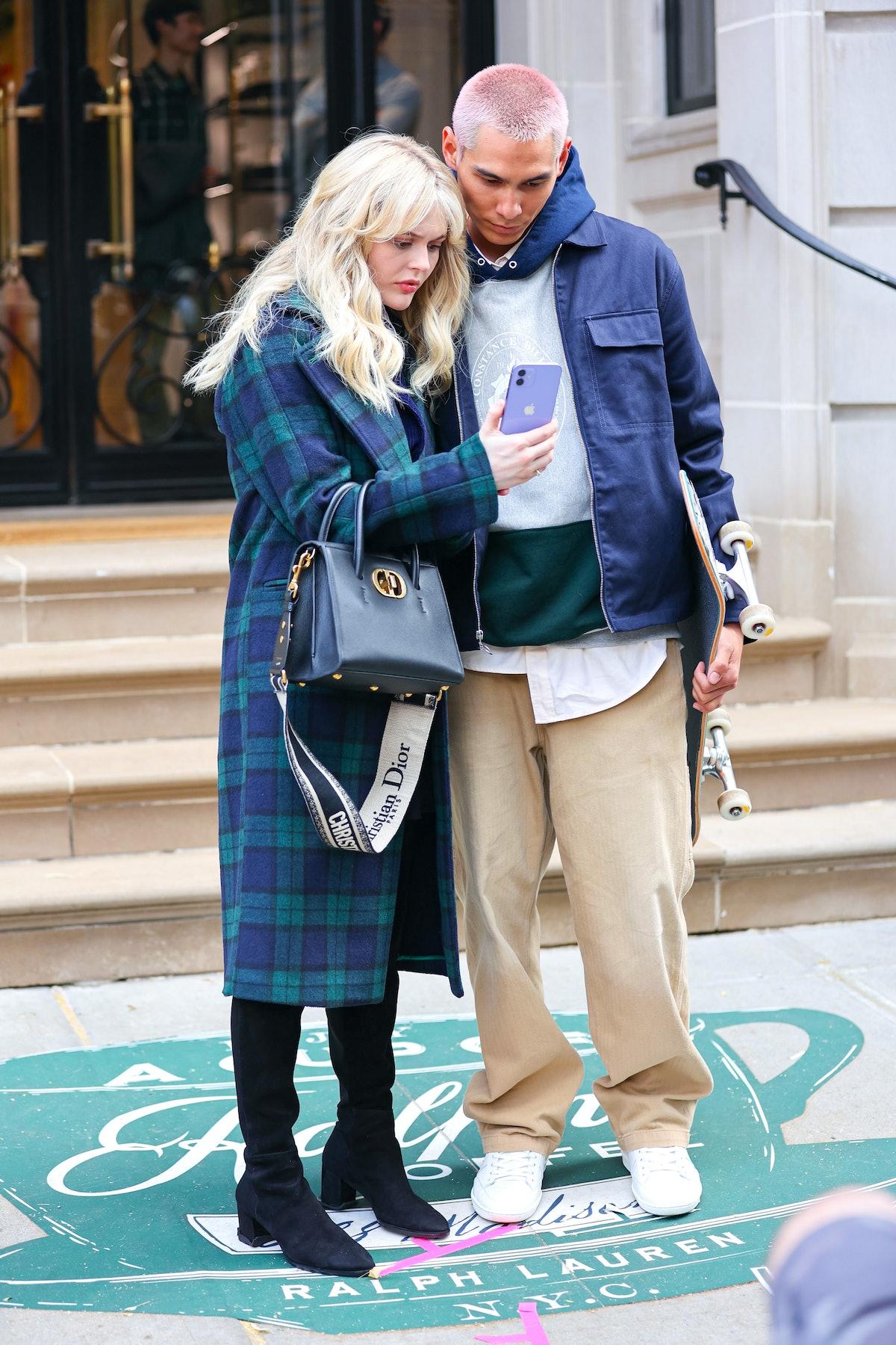 Emily Alyn Lind and Evan Mock on the set of the Gossip Girl reboot