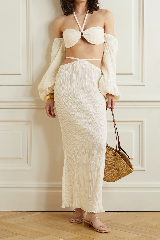 Delilah Cutout Crinkled Organic Cotton-Gauze Maxi Skirt