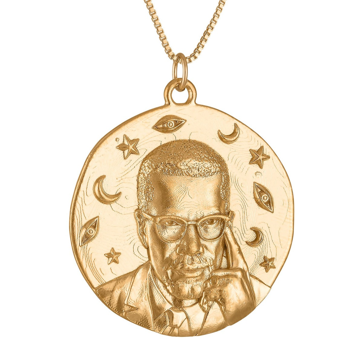 Malcolm X large gold vermilion medallion necklace from Black-owned jewelry brand SEWIT SIUM.