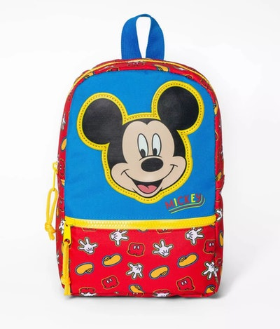 Red, blue, and yellow backpack with Mickey Mouse face