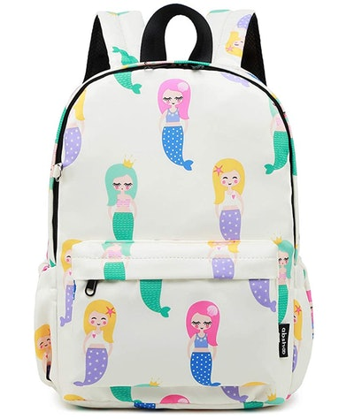 White backpack with colorful cartoon mermaids printed on it