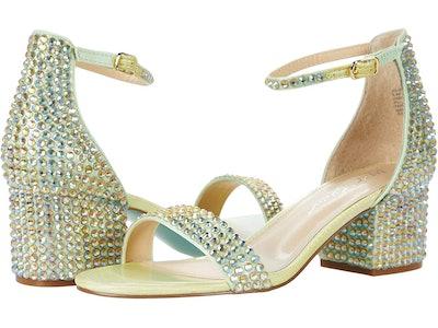 low block heel sandals with green rhinestones