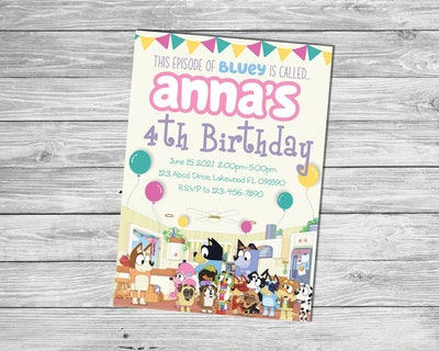 """Birthday Party invitation featuring characters from the cartoon show """"Bluey"""""""