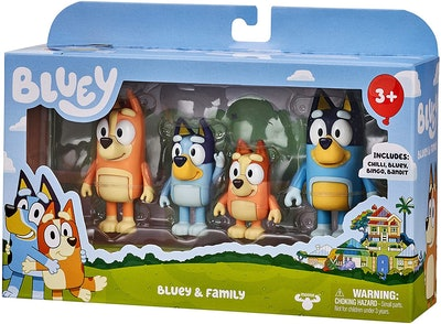 """Package of four small """"Bluey"""" character toys"""