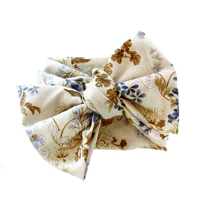 kids bow headwrap in floral print with gold accents
