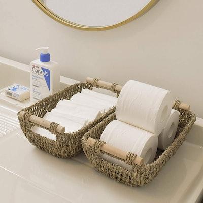 StorageWorks Hand-Woven Wicker Baskets (2-Pack)