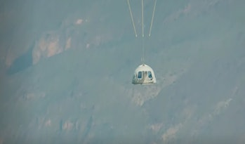 The capsule floats back toward the Earth around 15 mph, a little before ten minutes after it it was ...