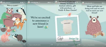 The couple's clothing and toy company, Teddy & Bear, revealed the happy baby news on the brand's In...