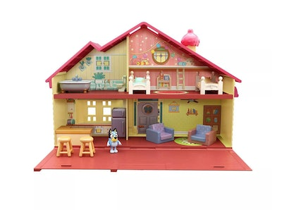 """Toy """"Bluey"""" house with furniture and mini """"Bluey"""" figurine"""