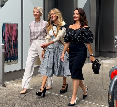 Cynthia Nixon, Sarah Jessica Parker, and Kristin Davis on the set of And Just Like That...