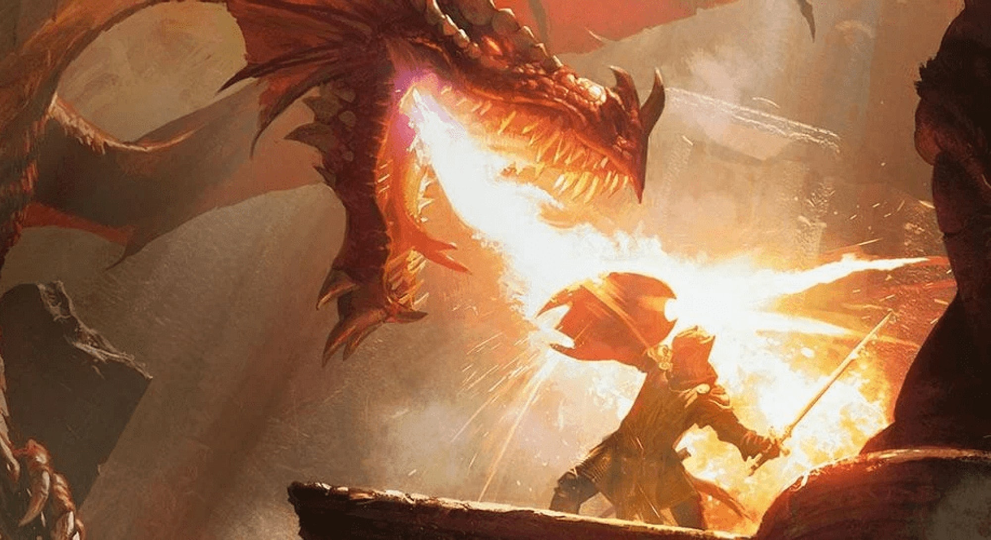 dragon breathing fire at adventurer holding shield in dungeons and dragons art