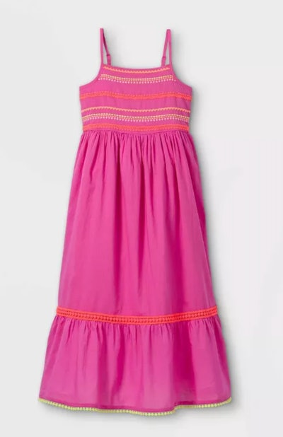 hot pink embroidered maxi dress for kids, from Target