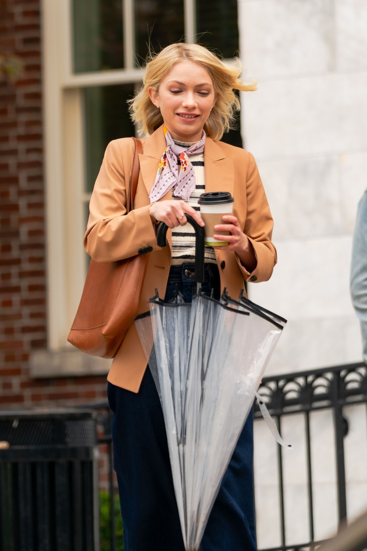 Tavi Gevinson is seen filming a scene for 'Gossip Girl' in the Upper East Side on November 23, 2020...