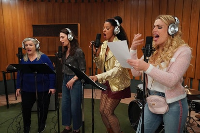 'Girls5eva' stars Paula Pell, Sara Bareilles, Renée Elise Goldsberry, and Busy Philipps record a song as their fictional girl group characters.