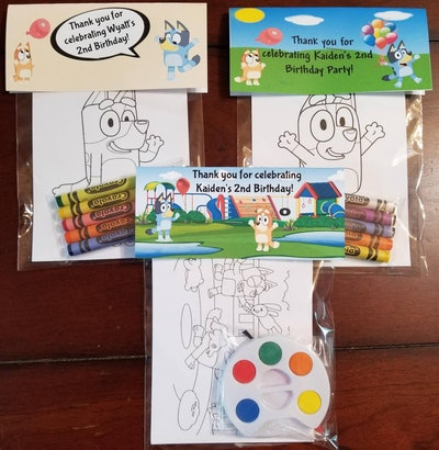 """3 Coloring packets with crayons, paint, and coloring pages that feature characters from """"Bluey"""""""